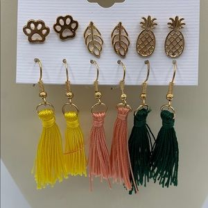 New Pack of 6 Earrings Mixed Gold Studs/Tassels
